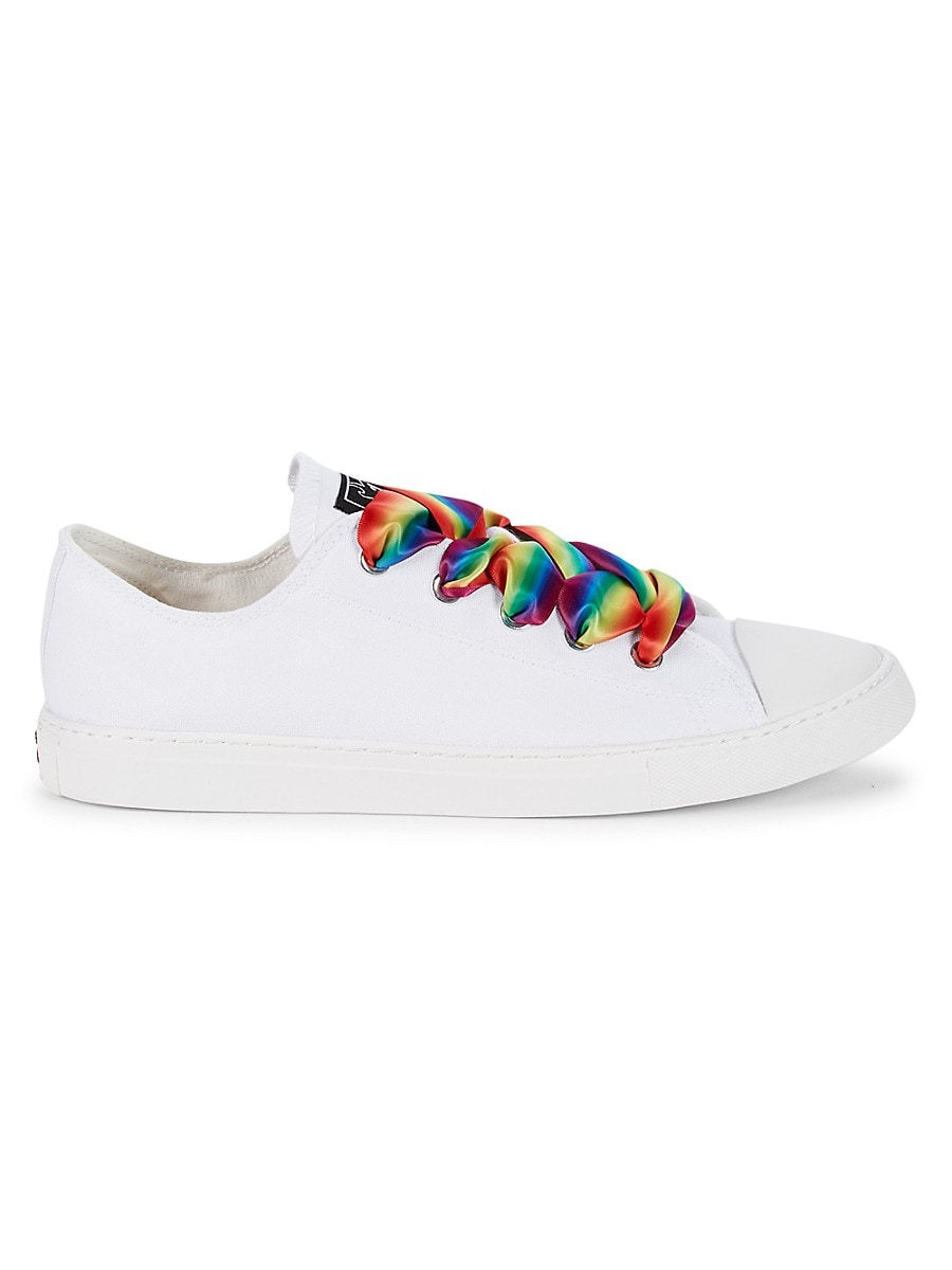 MAH Gender Neutral Pride Flag Canvas Sneakers - White Rainbow - Size W 15 / M 13