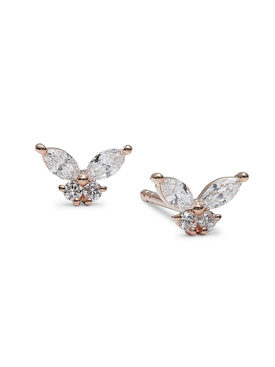 Women's 14K Rose Gold & 0.31 TCW Diamond Stud Earrings