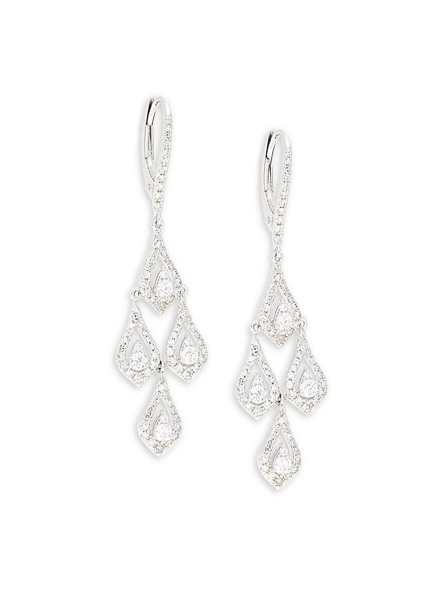 Women's 14K White Gold & 0.88 TCW Diamond Chandelier Earrings