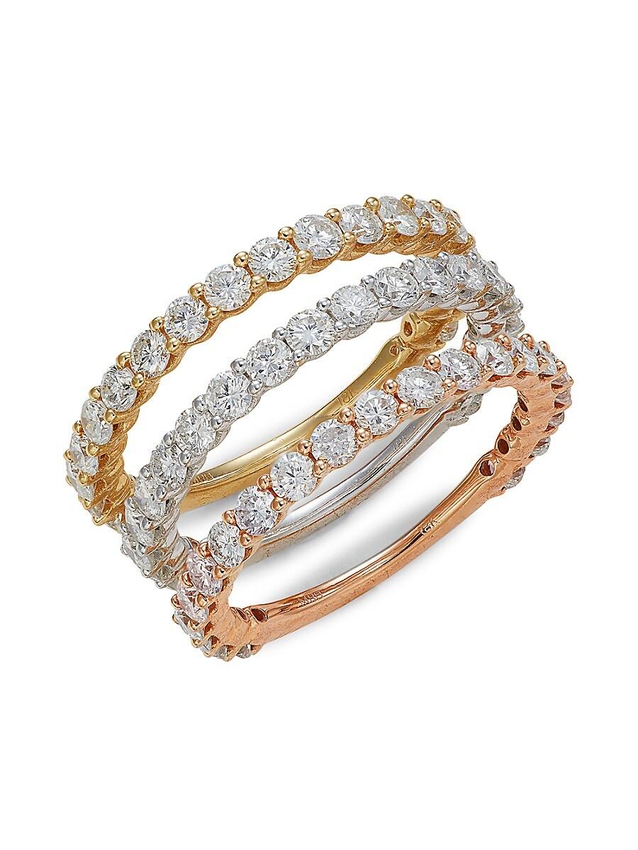 Women's 3-Piece 18K Tri-Tone Gold & 3.15 TCW Diamond Ring Set