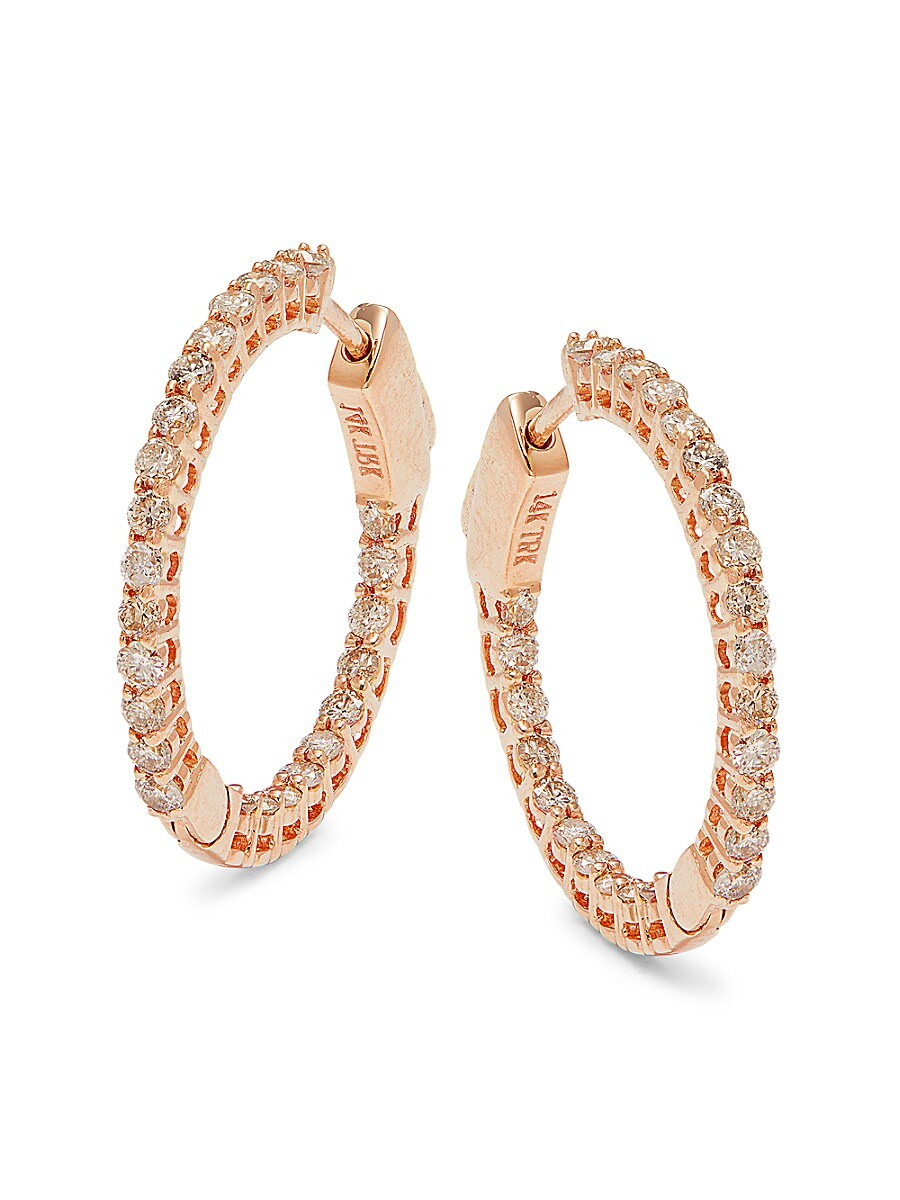 Women's 14K Rose Gold & 1.0 TCW Diamond Hoop Earrings