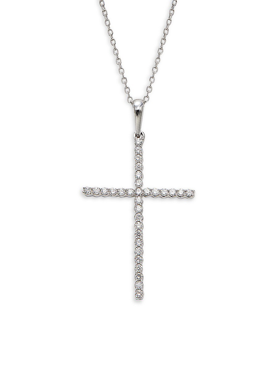Women's 14K White Gold & 0.24 TCW Diamond Cross Pendant Necklace