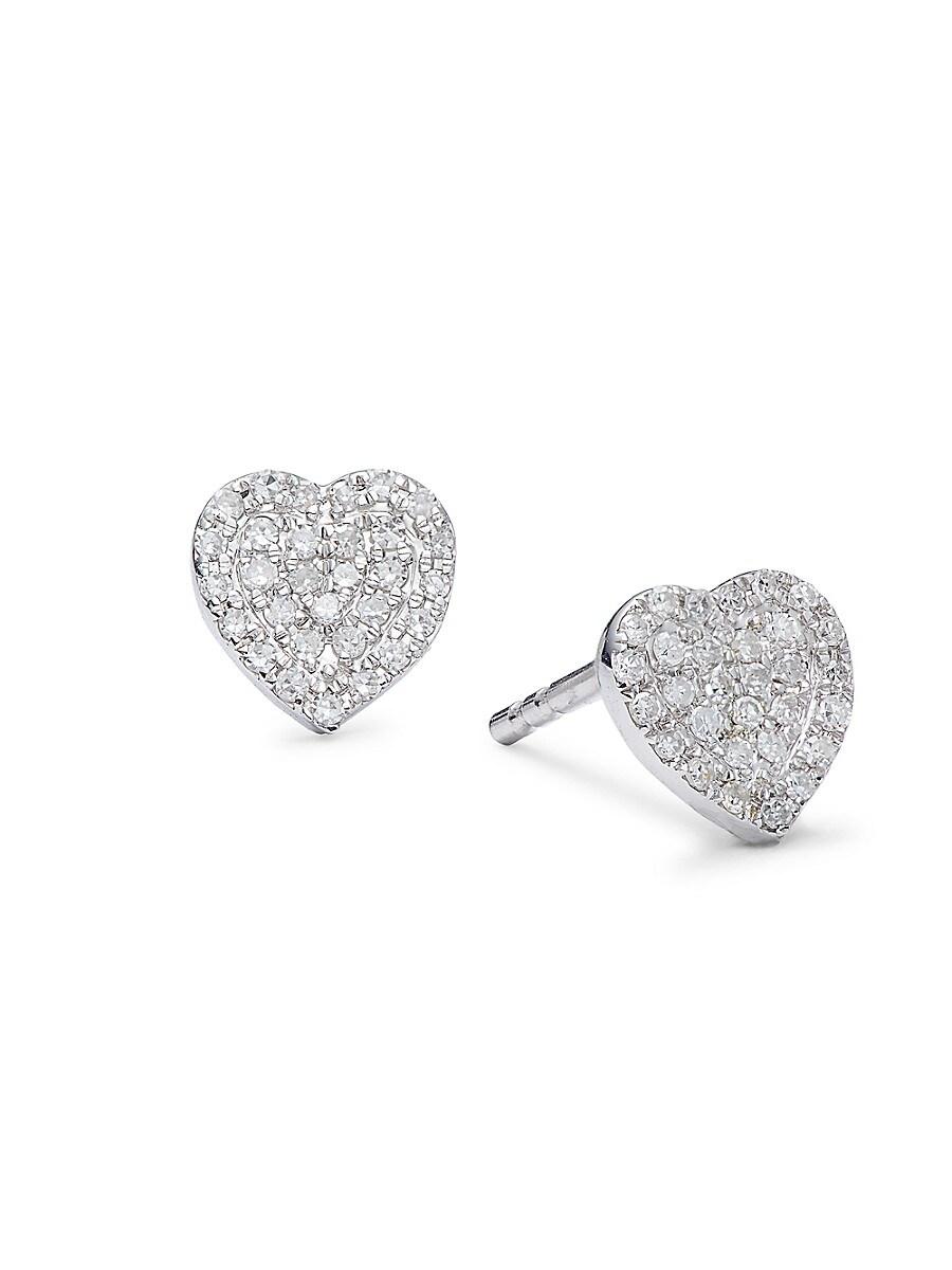 Women's 14K White Gold & Diamond Stud Earrings