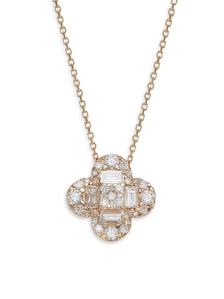 Women's 14K Rose Gold & 0.70 TCW Diamond Clover Pendant Necklace