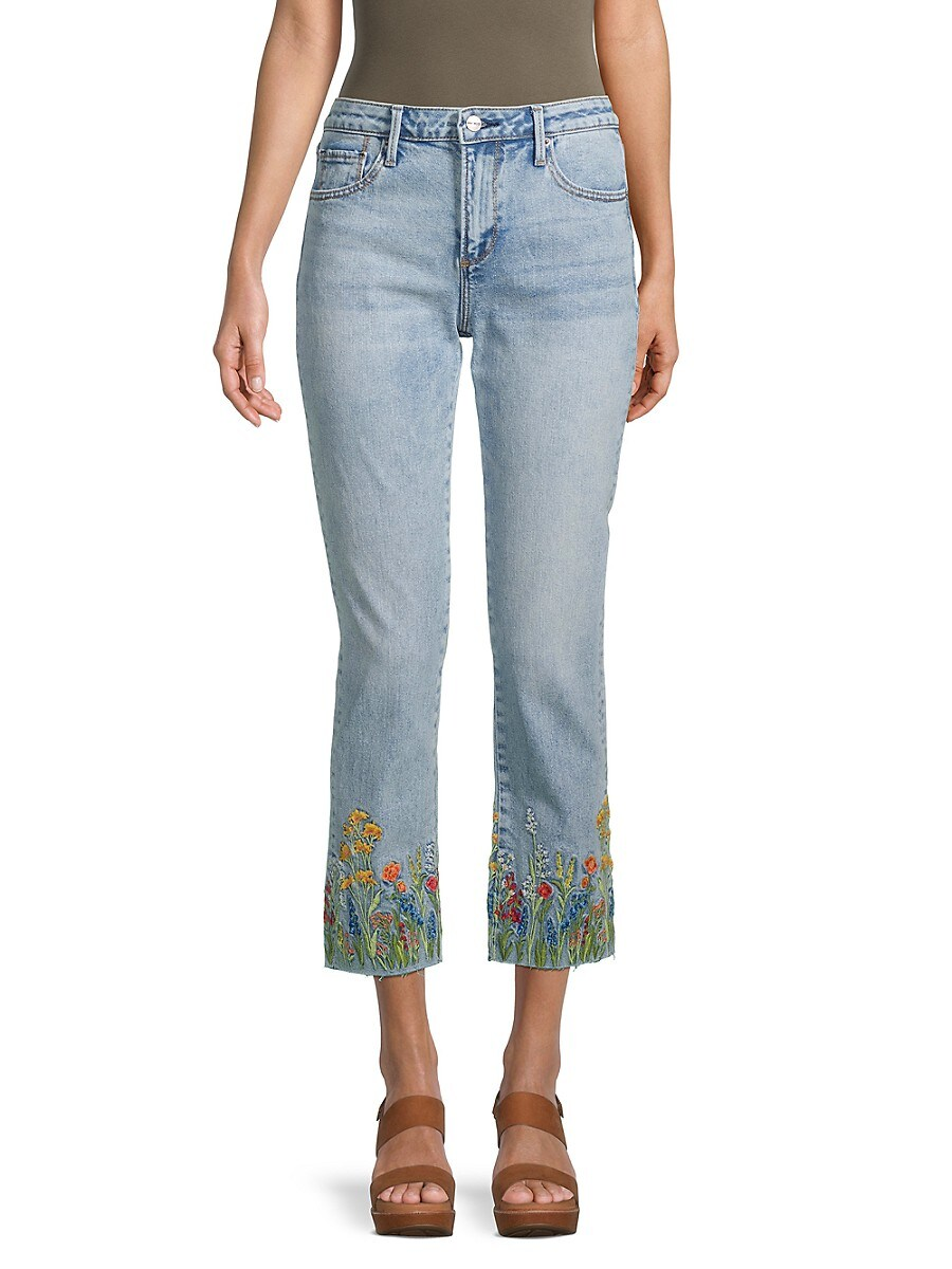 Women's Acid Wash Embroidered Cropped Jeans