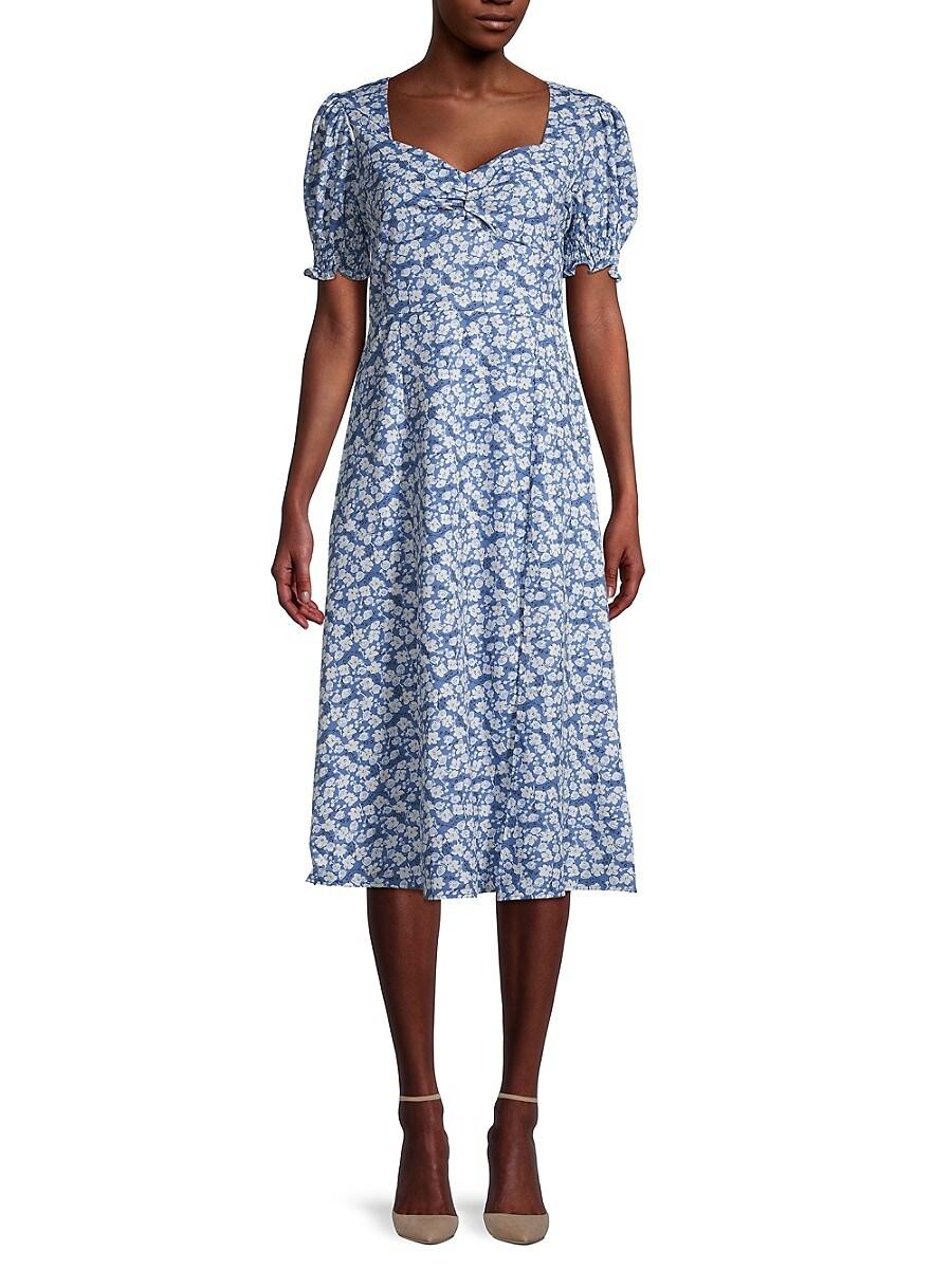 Women's Puff-Sleeve Floral Dress