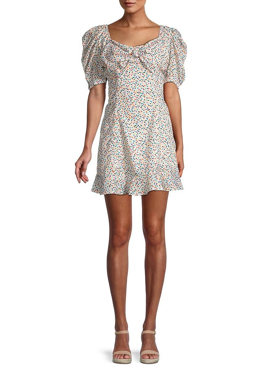 Women's Puff-Sleeve Heart-Print Dress