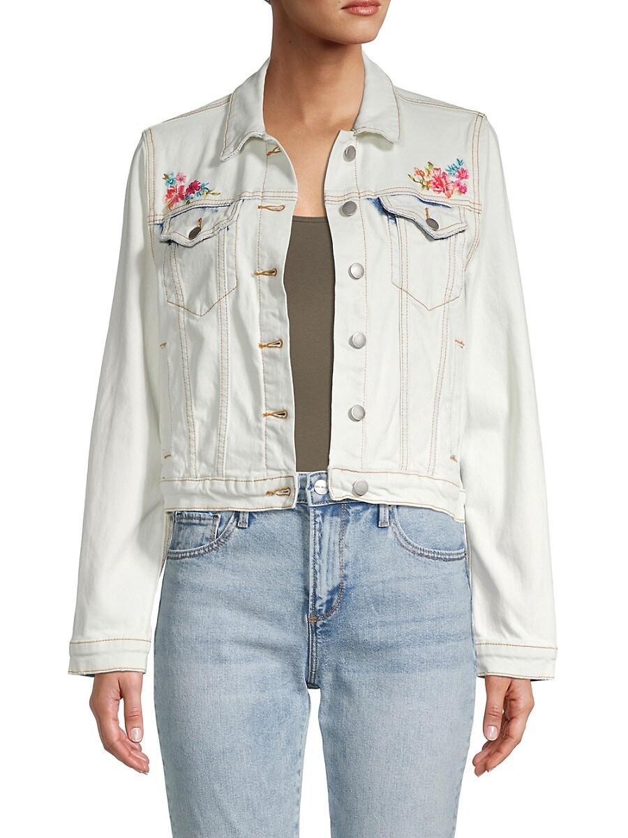 Driftwood Women's Floral Peace Embroidered Denim Jacket - Bleach - Size XL
