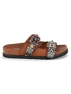 ASH Ulysse Textile & Leather Slides,CINNAMON