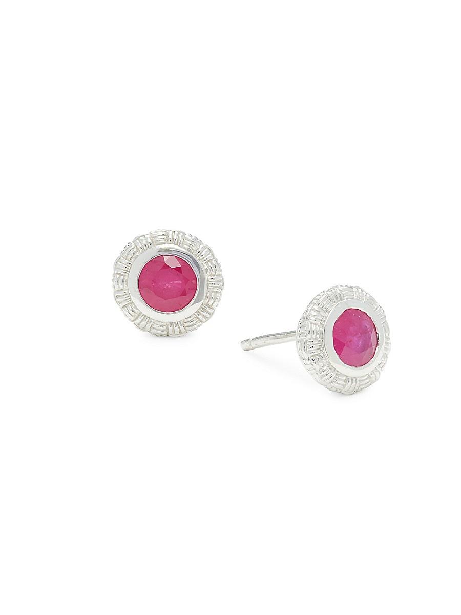 Women's Sterling Silver & Ruby Stud Earrings