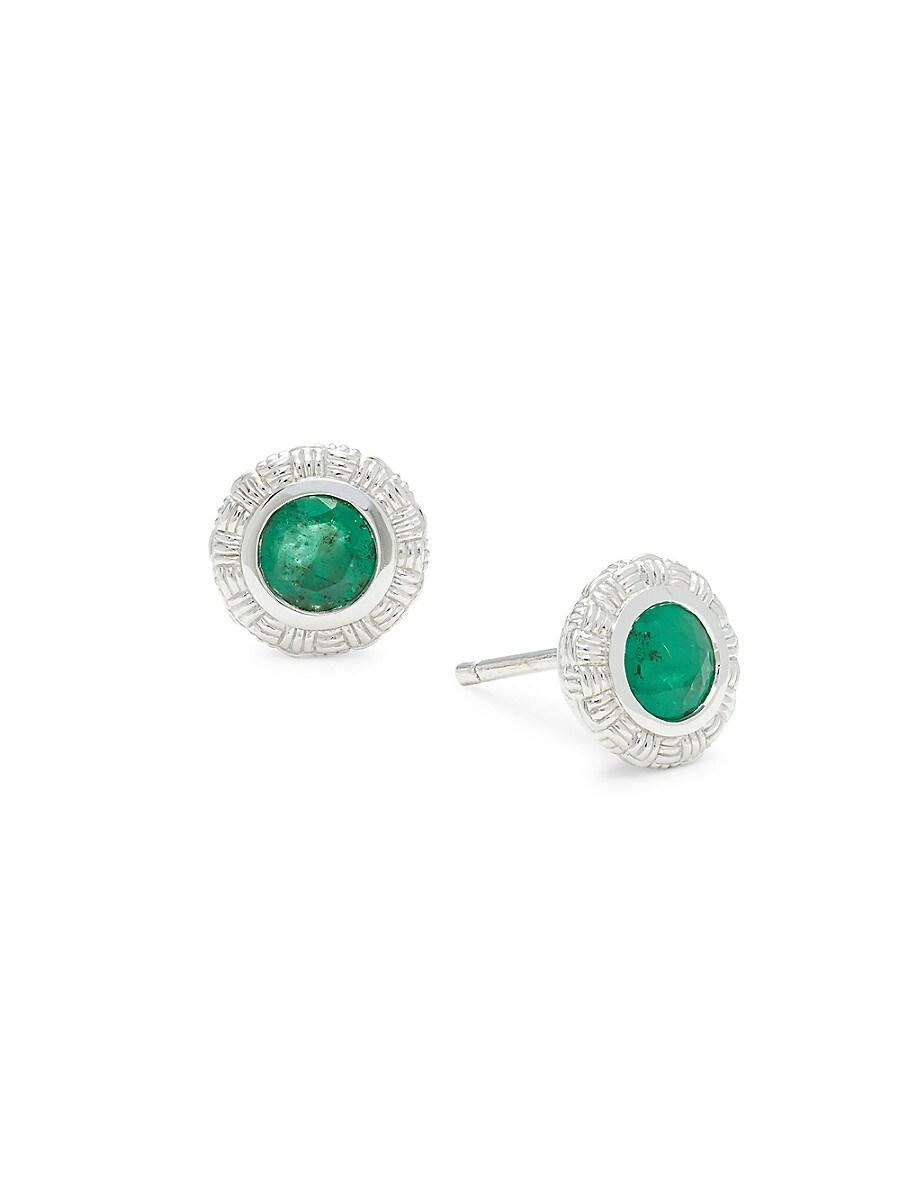 Women's Sterling Silver & Emerald Stud Earrings