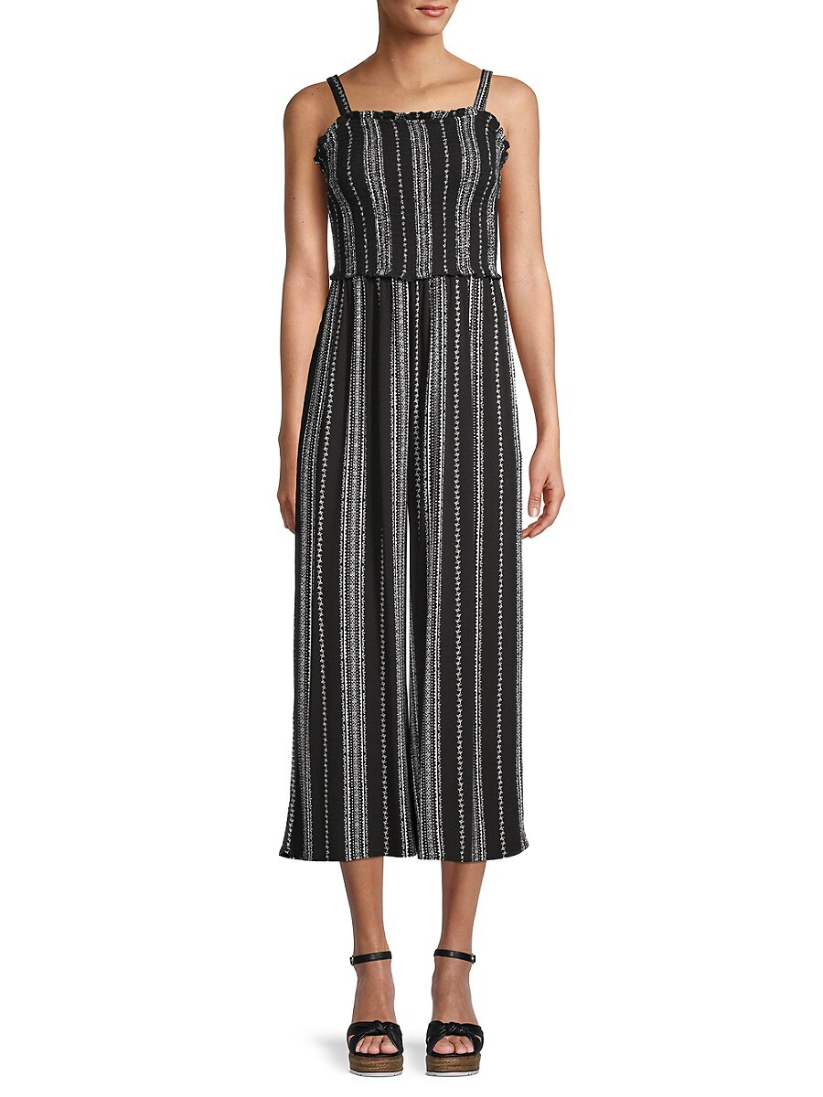 Women's Striped Cropped Jumpsuit