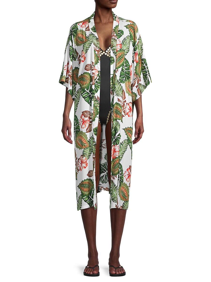 Women's Tropical-Print Kimono Coverup