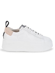 ASH Moon Leather Platform Sneakers,WHITE NUDE