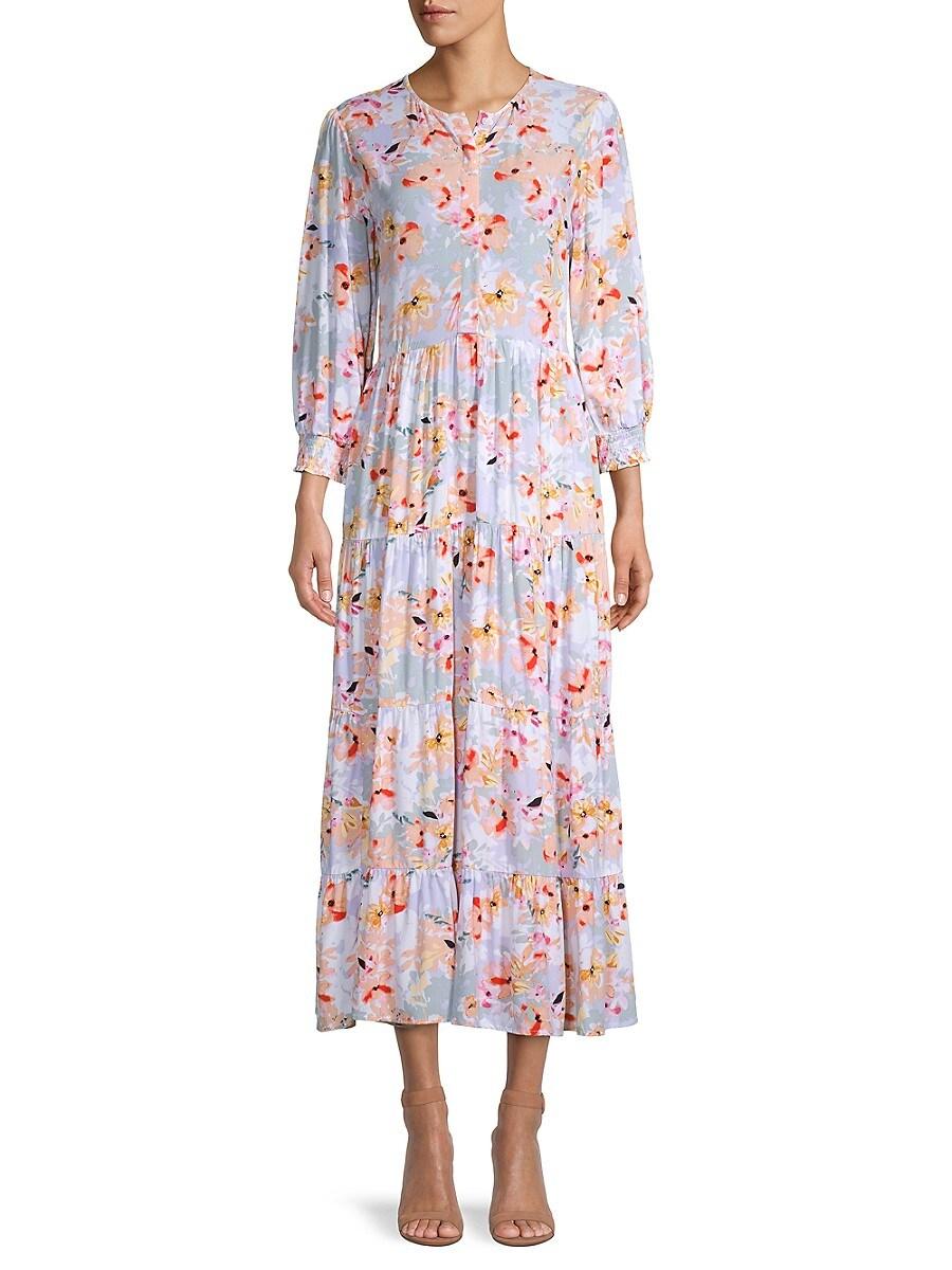 Women's Floral Tiered Midi Dress