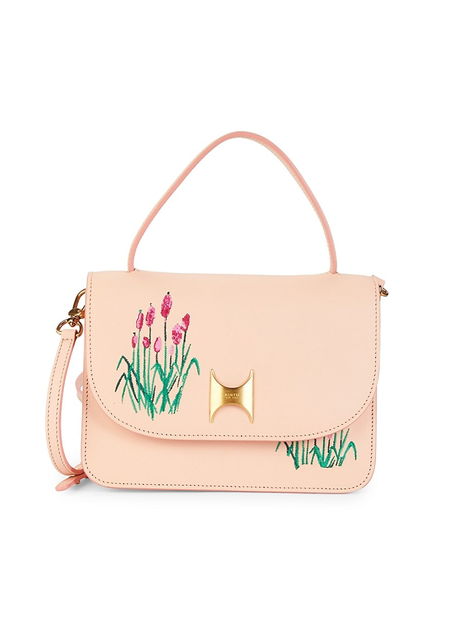 Kintu New York Women's Floral Embroidered Leather Satchel - Pink