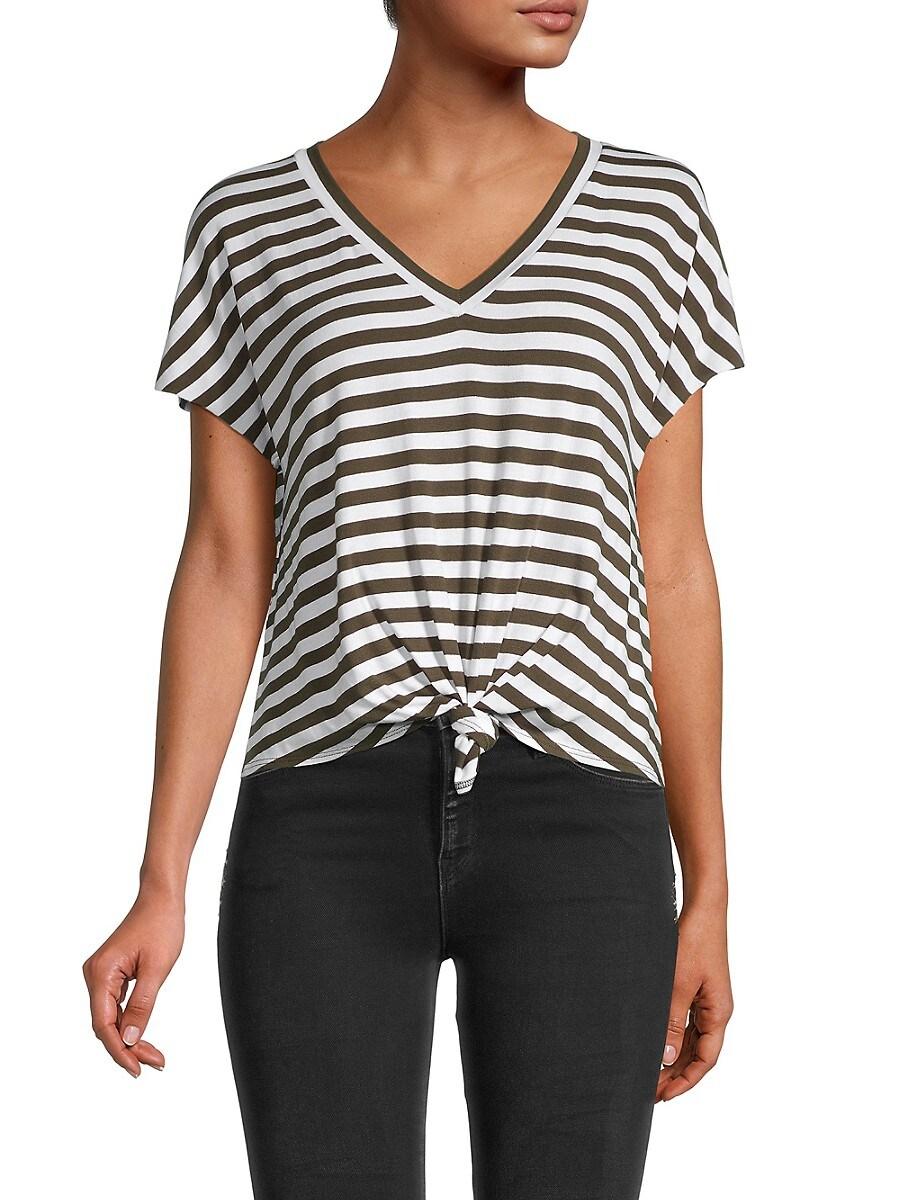Women's Ocelot Tie-Front Striped Tee