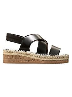 콜한 Cole Haan CloudFeel Leather Espadrille Slingback Wedge Sandals,BLACK