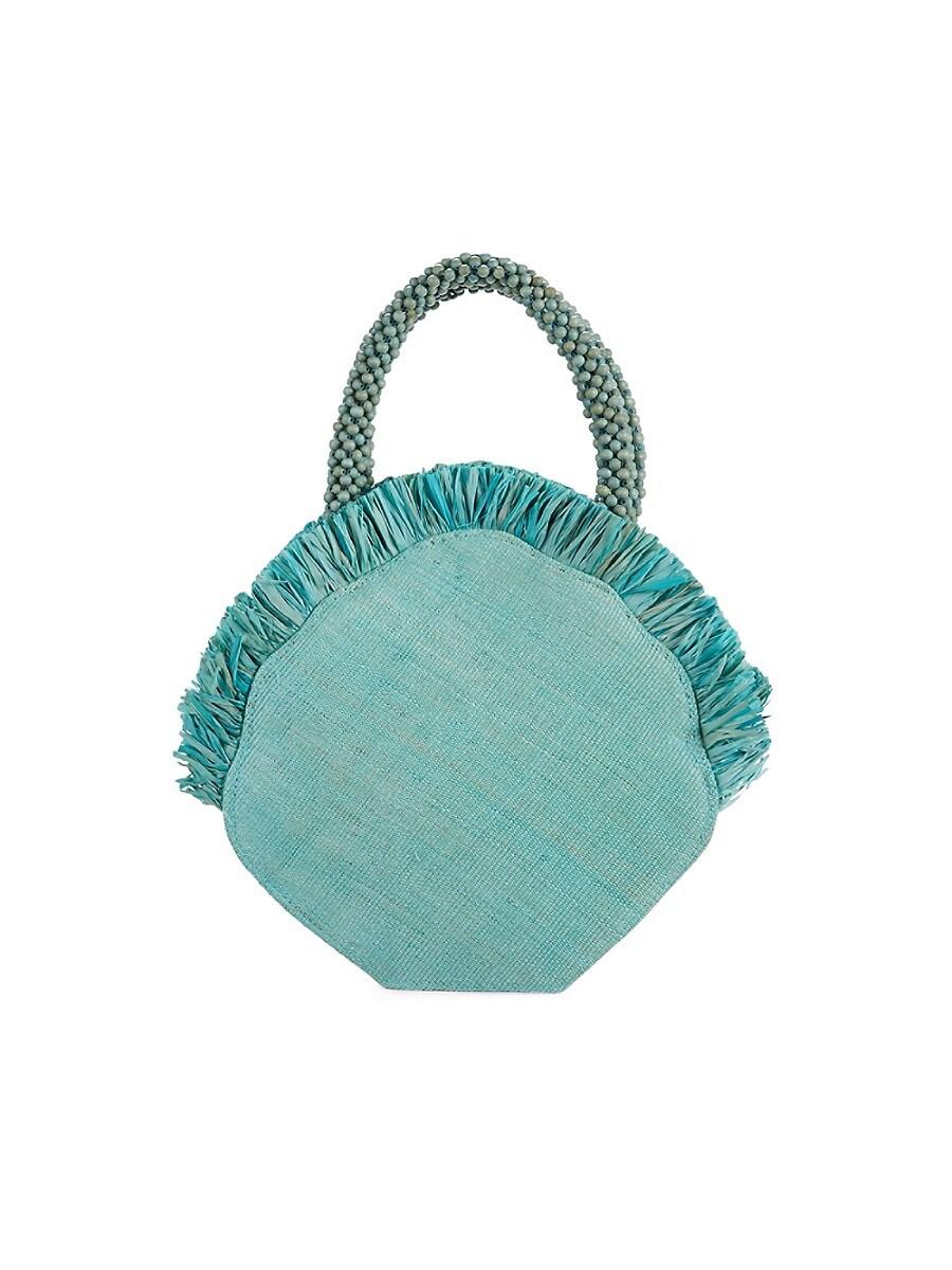 Women's Clam Raffia Top Handle Bag