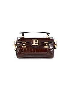 발망 Balmain Crocodile Embossed Leather B-Buzz Bag,BROWN