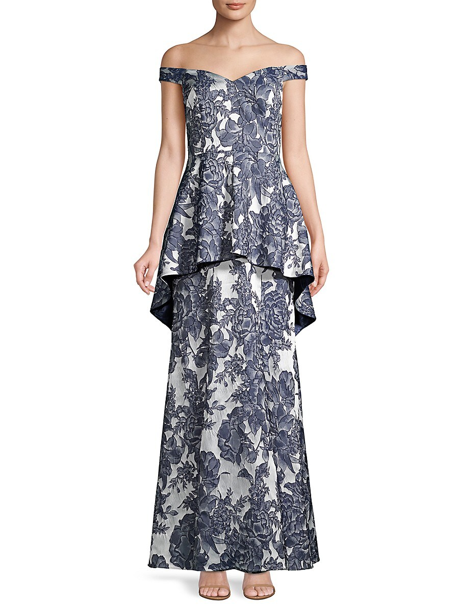 Women's Off-The-Shoulder Floral Peplum Gown