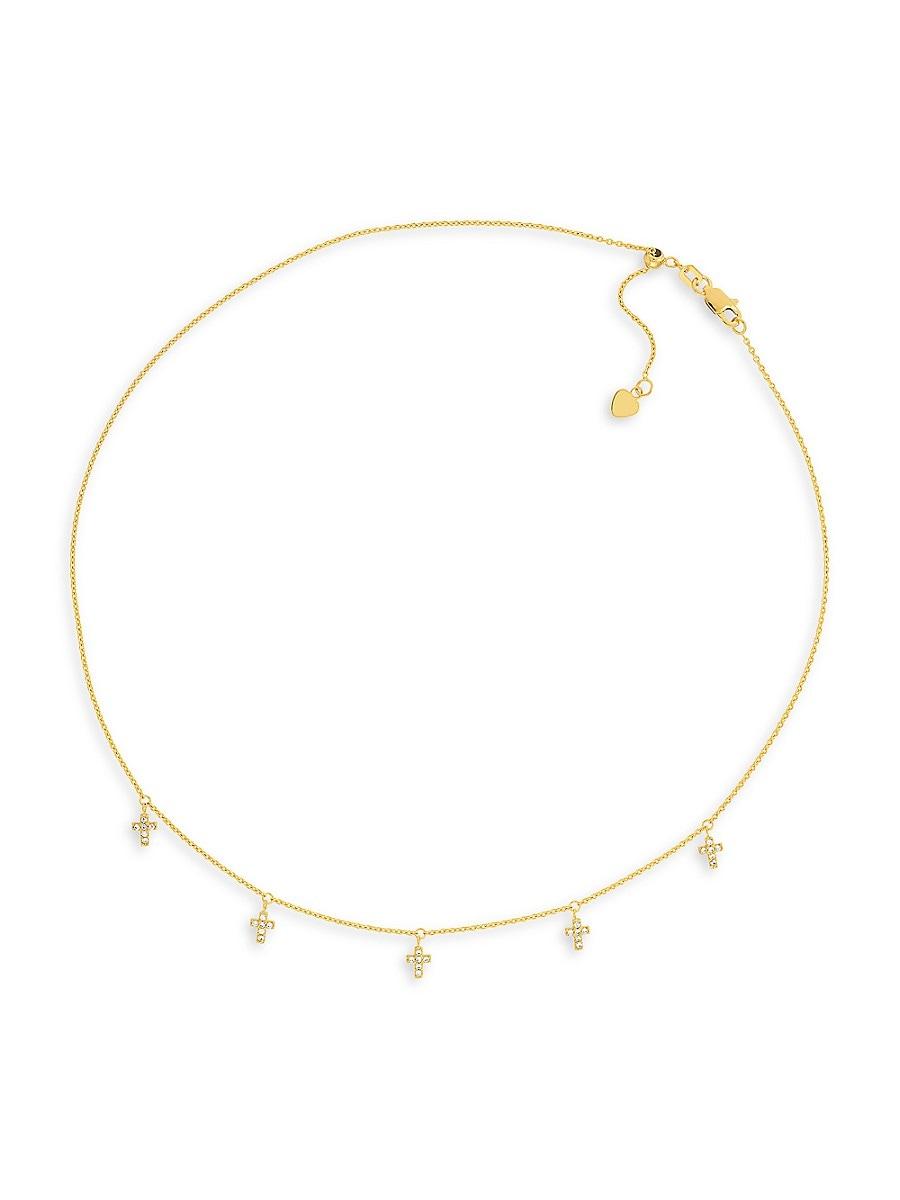 Women's 14K Yellow Gold & Cubic Zirconia Mini Cross Choker Necklace