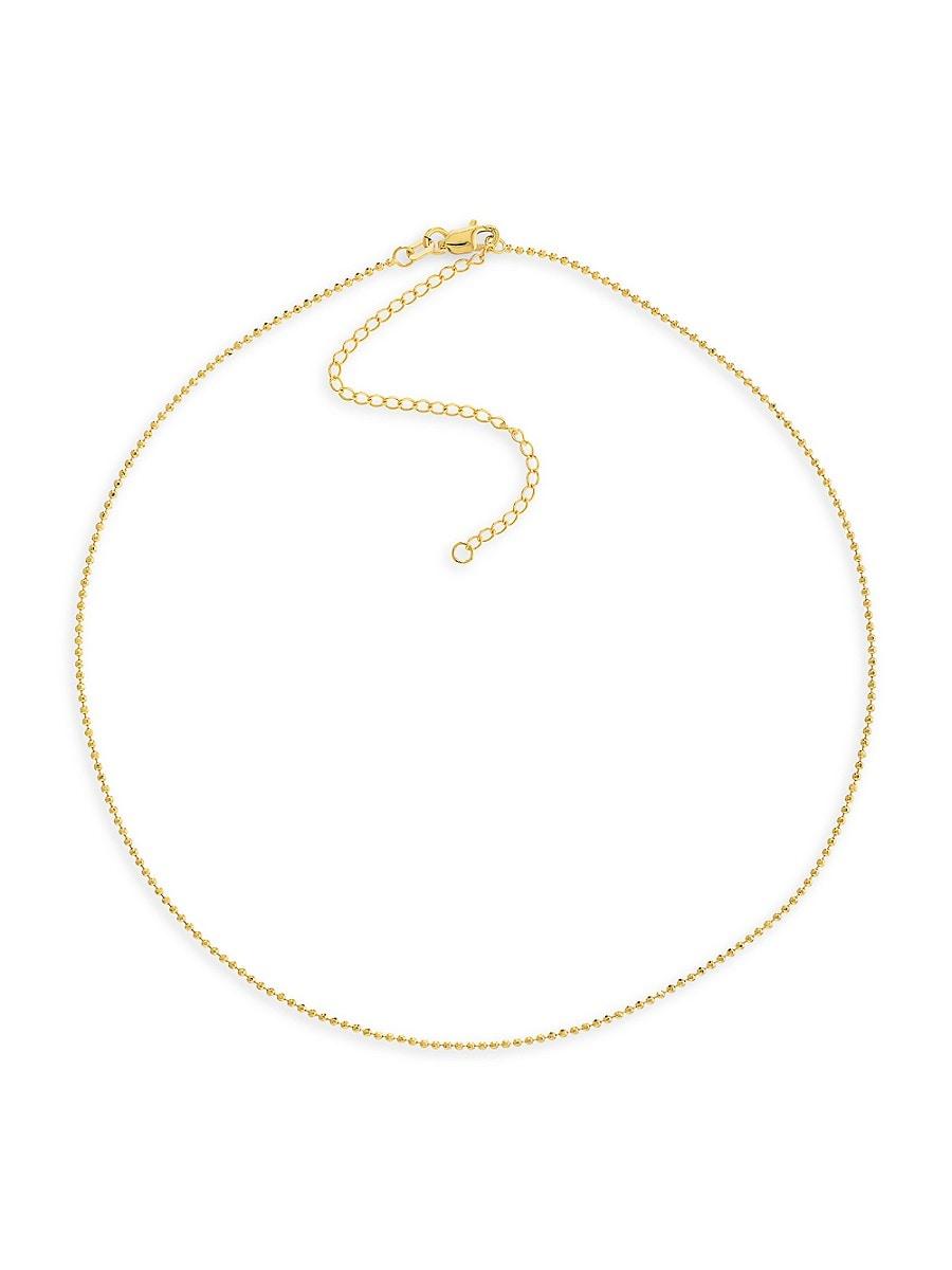 Women's 14K Yellow Gold Choker Bead Chain Necklace