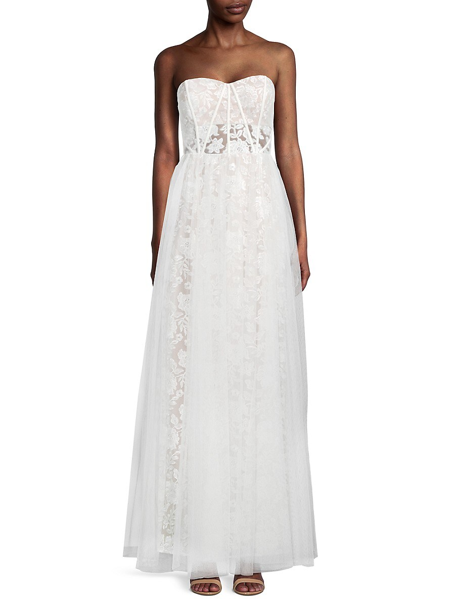 Women's Strapless Embroidered Mesh Gown