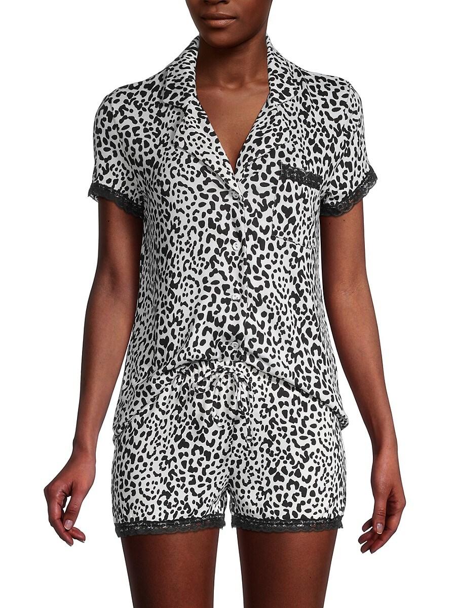 Women's 2-Piece Leopard-Print Shirt & Short Set