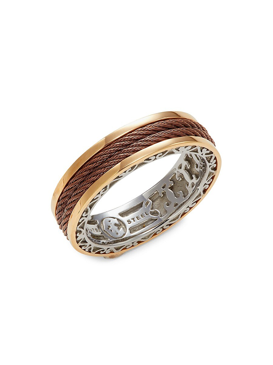 18K Yellow Gold & Stainless Steel Cable Ring