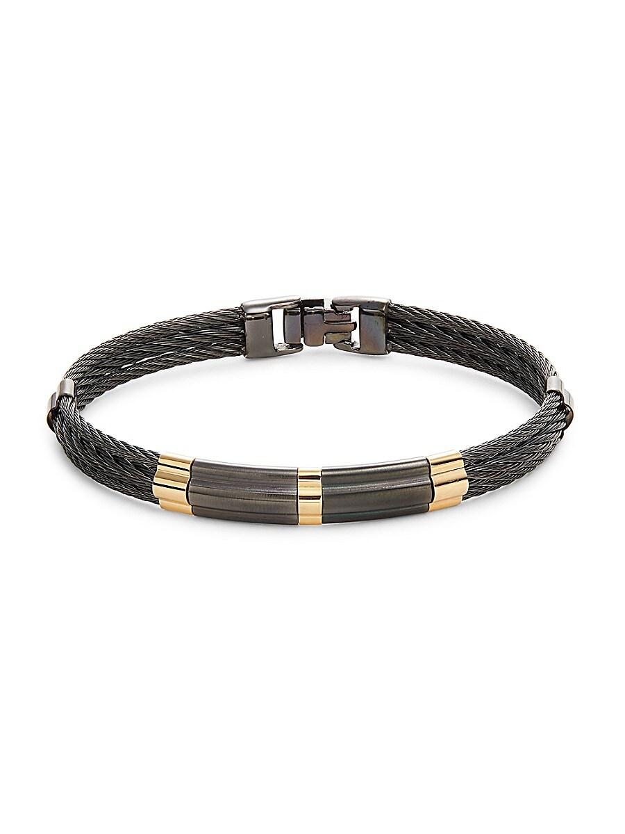 Men's 18K Yellow Gold & Stainless Steel Bangle Bracelet