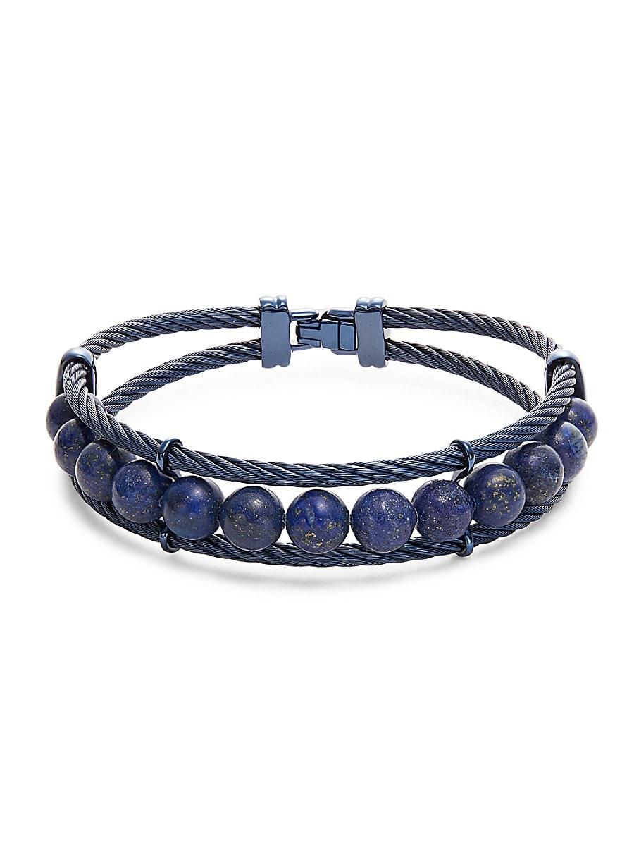 Men's Lapis & Blue Stainless Steel Bracelet