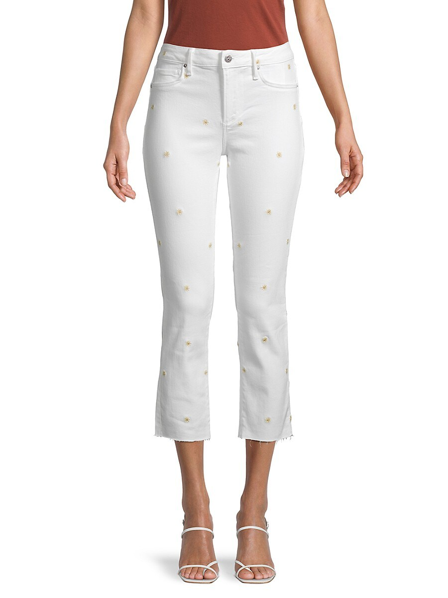 Women's Candace Floral-Embroidered Cropped Jeans