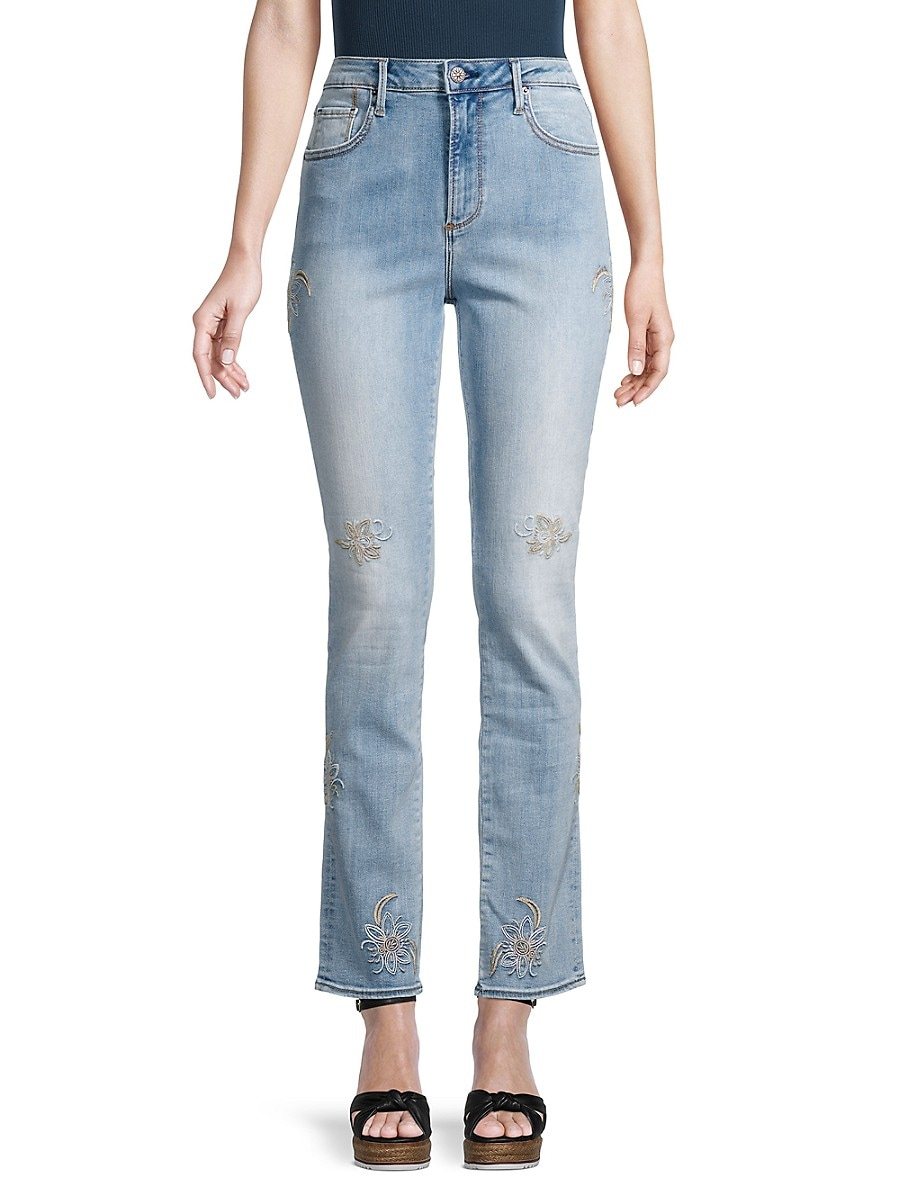 Women's Audrey Straight Embroidered Jeans