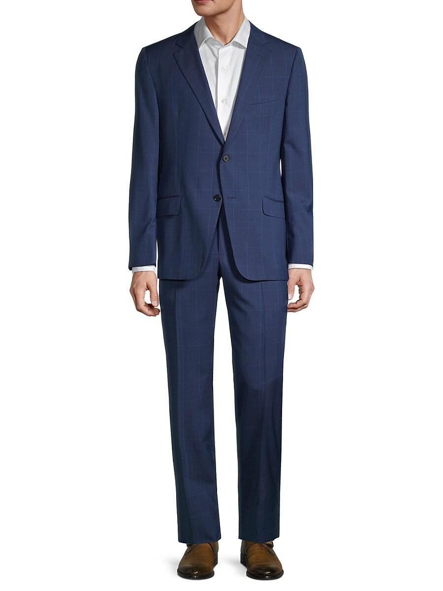 Men's Milburn IIM Series Regular-Fit Windowpane Wool Suit