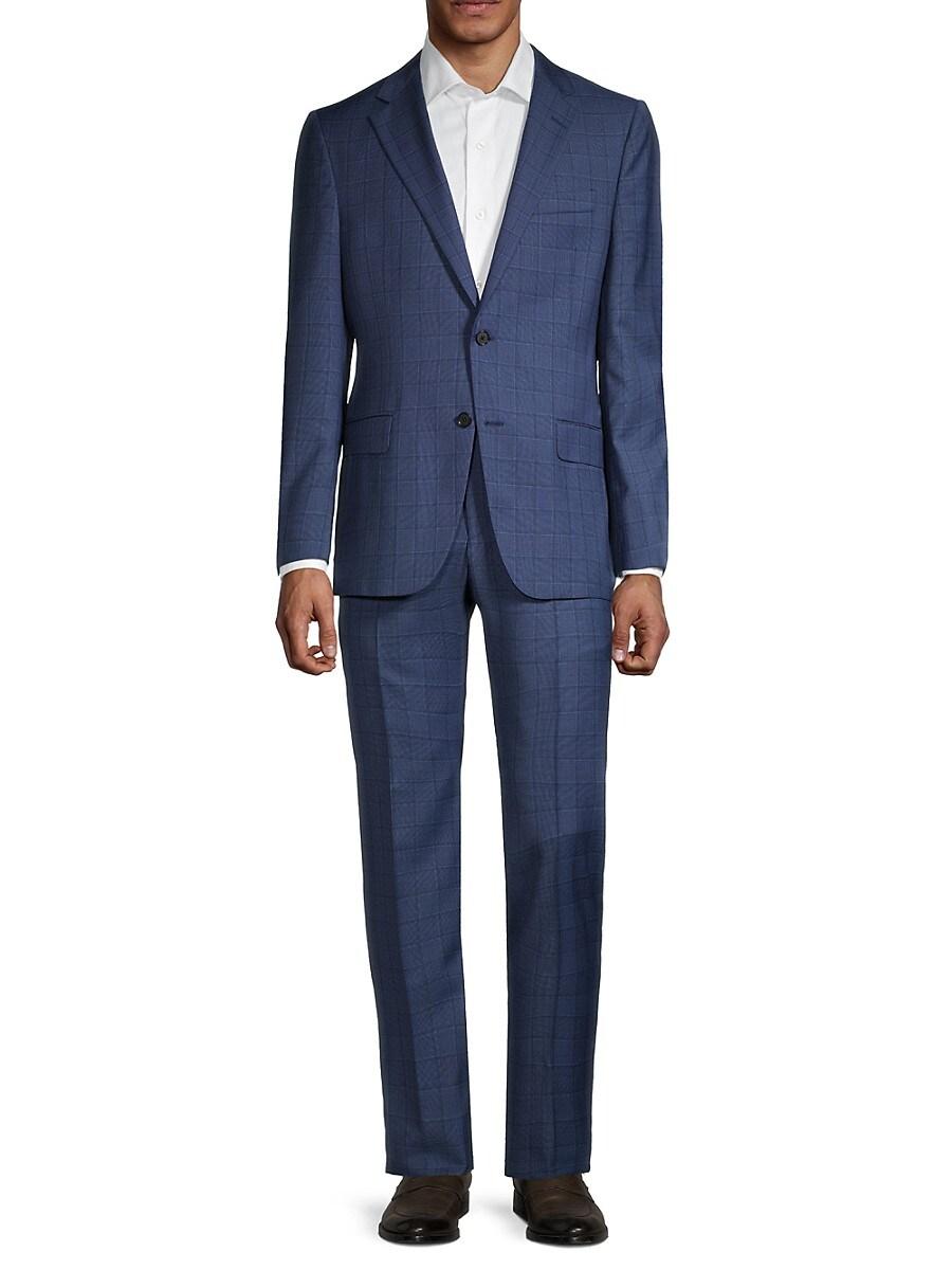 Men's Milburn II Regular-Fit Windowpane Wool Suit