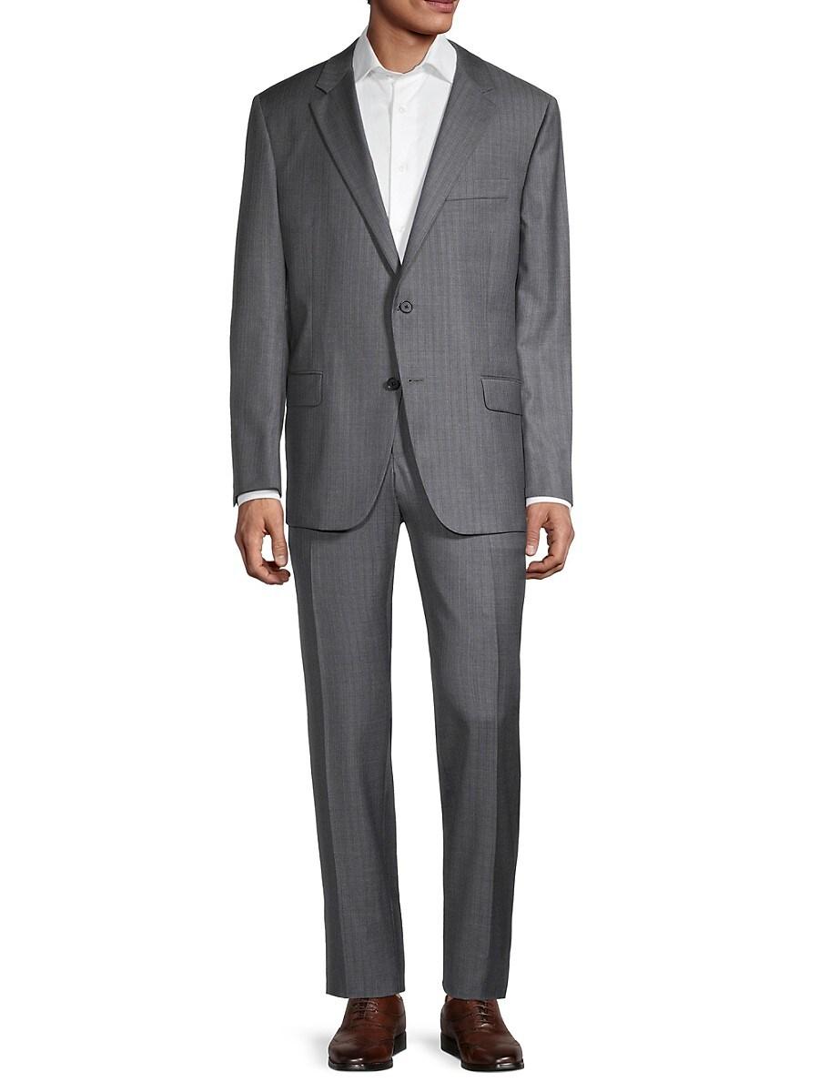 Men's Milburn IIM Series Regular-Fit Striped Wool Suit