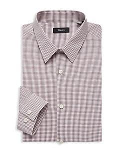 띠어리 Theory Cedrick Regular-Fit Check Poplin Dress Shirt,MALBEC