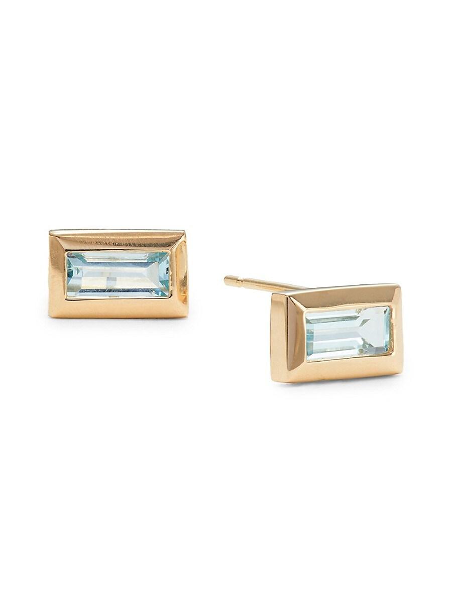 Women's Rainbow Baguette 14K Yellow Gold & Blue Topaz Earrings