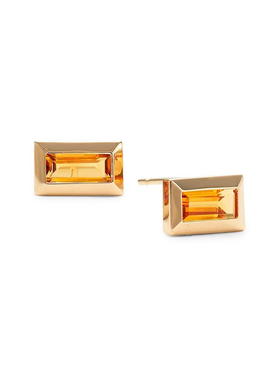 Women's Rainbow Baguette 14K Yellow Gold & Orange Citrine Earrings