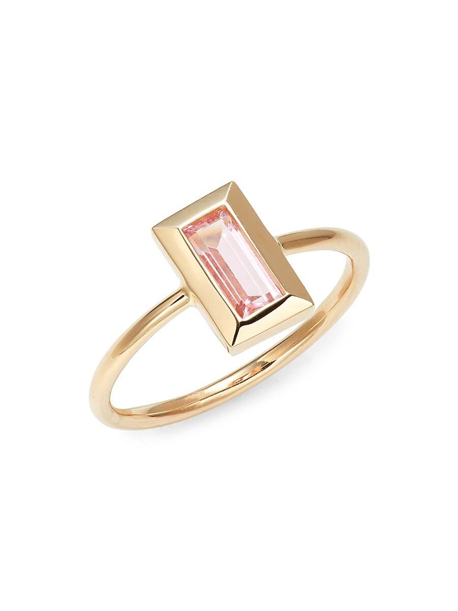 Women's Rainbow Baguette 14K Yellow Gold & Pink Tourmaline Ring