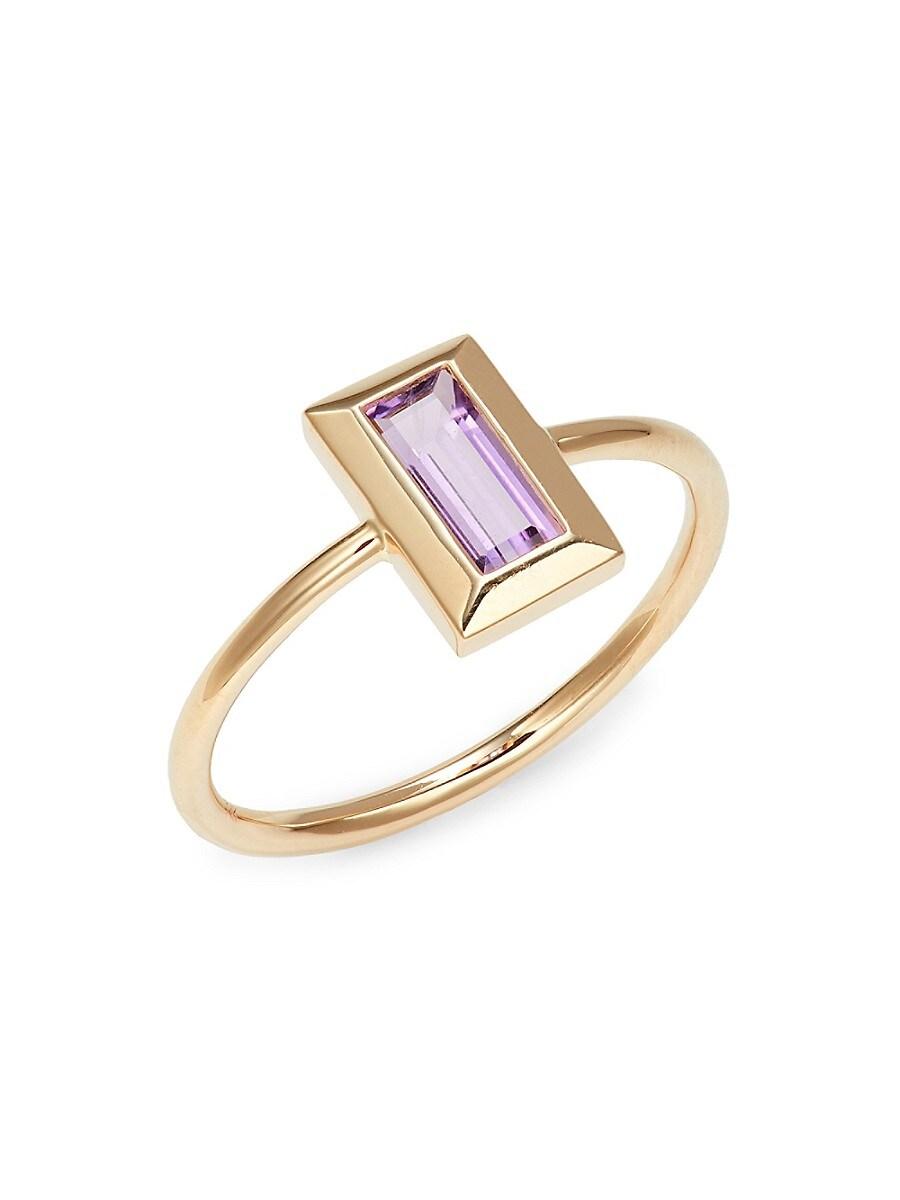 Women's Rainbow Baguette 14K Yellow Gold & Amethyst Ring