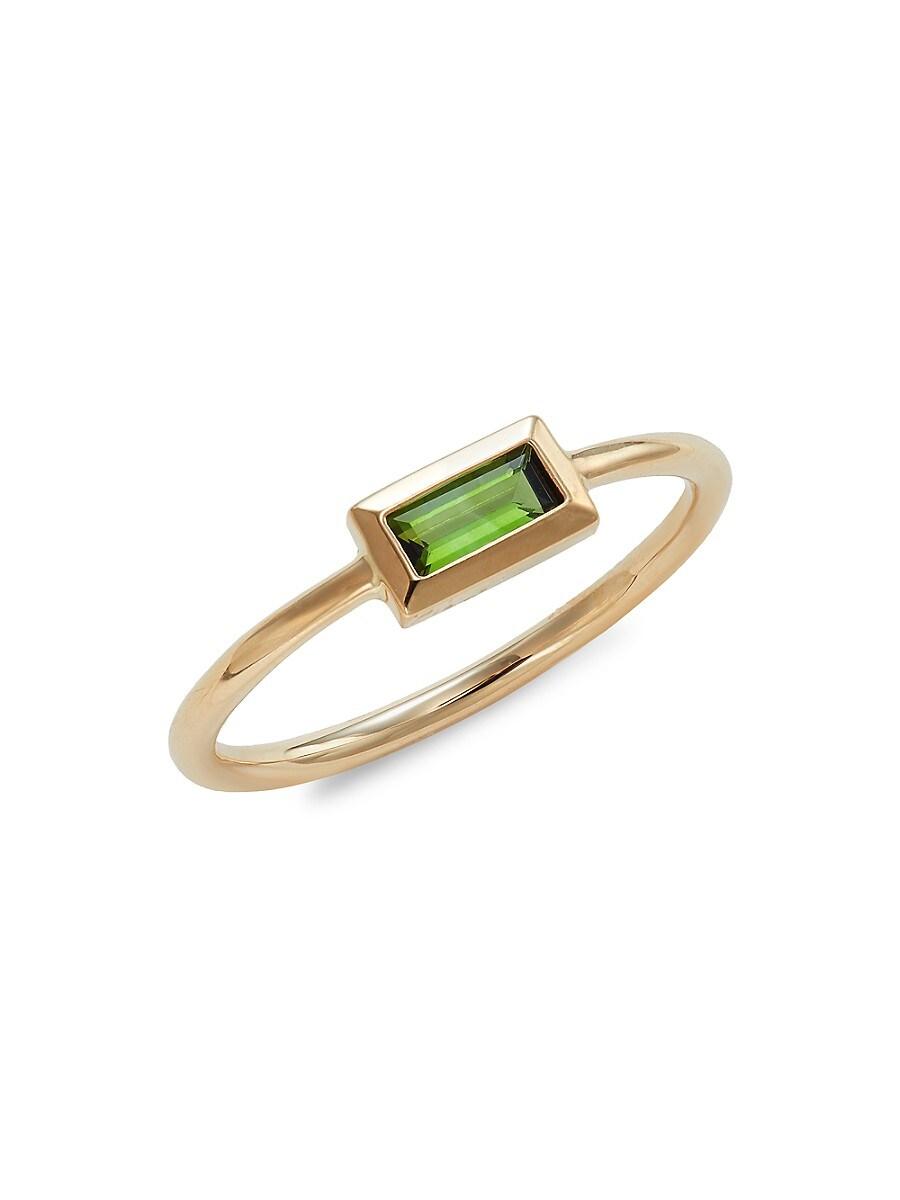 Women's Rainbow Baguette 14K Yellow Gold & Green Tourmaline Ring