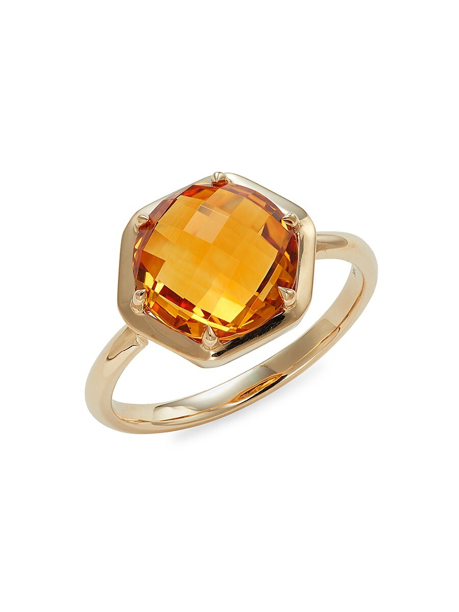 Women's Rainbow Baguette 14K Yellow Gold & Citrine Ring