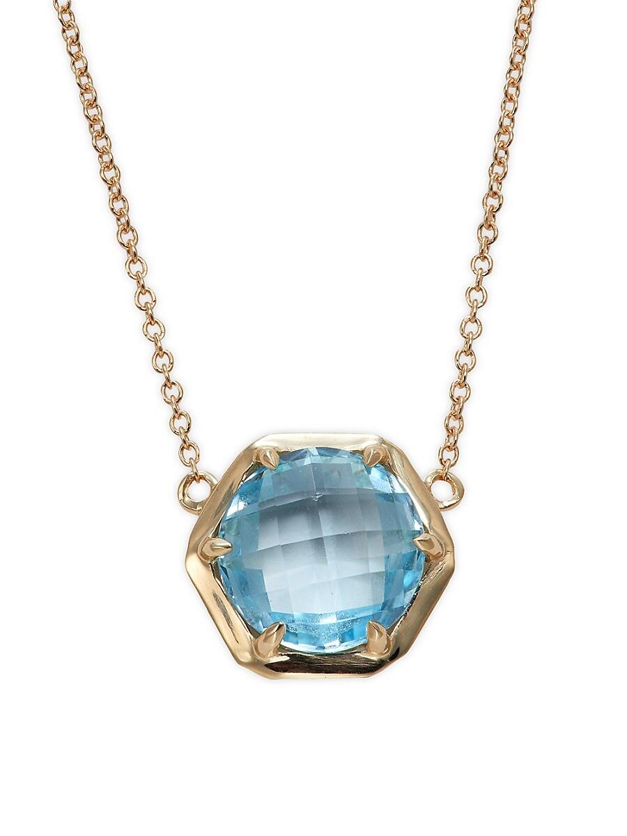 Women's Rainbow Baguette 14K Yellow Gold & Blue Topaz Pendant Necklace
