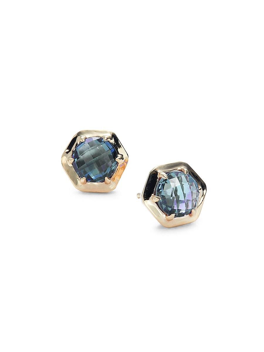 Women's Rainbow Baguette 14K Yellow Gold & Blue Topaz Stud Earrings