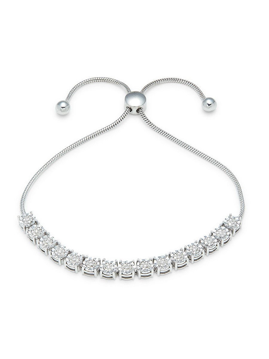 Women's Sterling Silver & 0.09 TCW Diamond Bolo Bracelet