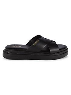 콜한 Cole Haan Grandpro Leather Crisscross Slides,BLACK