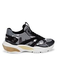 발렌티노 Valentino Leather & Suede Chunky Sneakers,SILVER DARK GREY