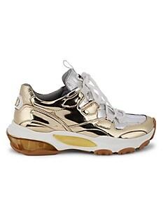 발렌티노 Valentino Metallic Leather Sneakers,SILVER GOLD